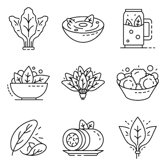 Spinach icon set. outline set of spinach vector icons
