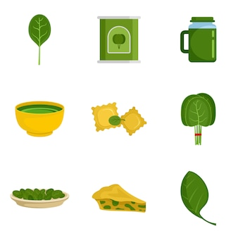 Spinach leaves vegetables icons set