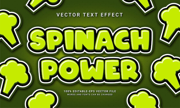Spinach power editable text effect with fresh vegetable theme