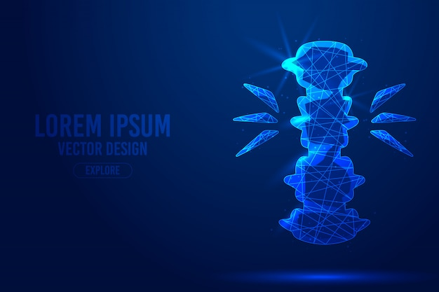 Spinal cord injury geometric lines, low poly style wireframe template