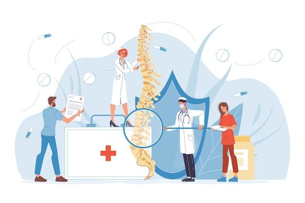 척추 척추 질환 진단. 요통, 류머티즘, 기형, 척추 염증 치료. 골격 외과 의사. 제복을 입은 척추 전문의 의사 간호사 팀이 인간의 척추를 검사합니다.