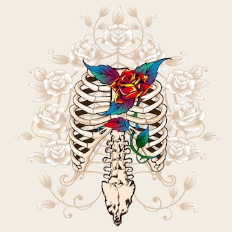 Spine bones and roses print