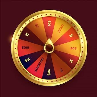 Вращающееся колесо фортуны в блестящем золотистом цвете