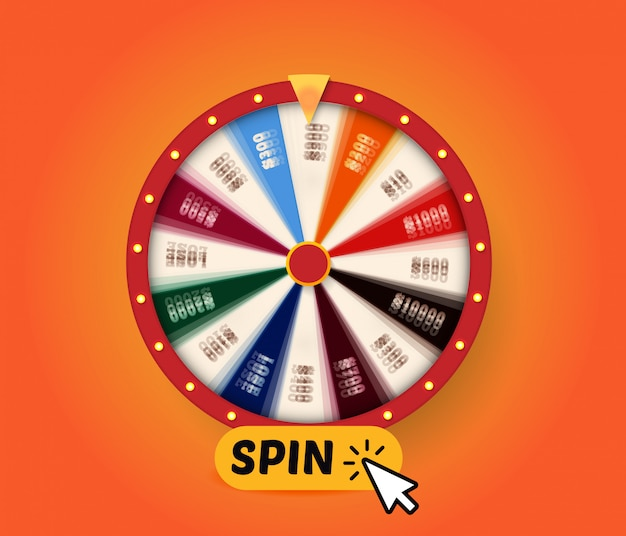 Spinning fortune wheel with spin button for activation rotation,   graphic for prize game, web gambling