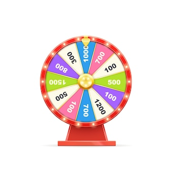 Spinning luck fortune chance casino wheel game for money win. circle risk gambling roulette for lottery jackpot winning entertainment vector illustration isolated on white background