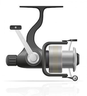 Spinning reel for fishing vector illustration