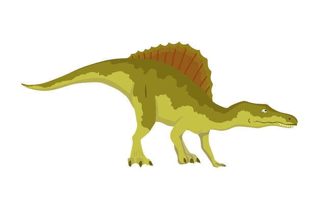스피노사우루스 공룡 플랫 아이콘입니다. 색깔의 고립 된 선사 시대 파충류 괴물