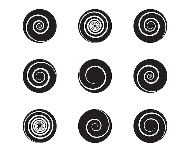 スパイラルとスワールモーションツイストサークルデザイン要素セット。ベクトルイラスト。