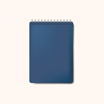 Spiral blue notebook mockup isolated vector