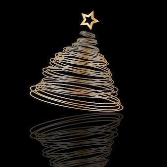 Spiral christmas tree on black background