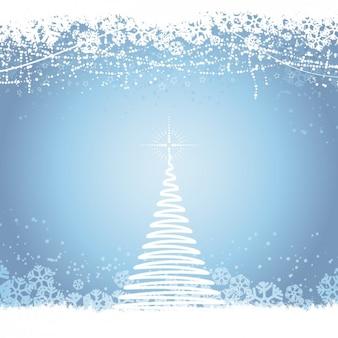 Спираль рождественская елка на синем фоне