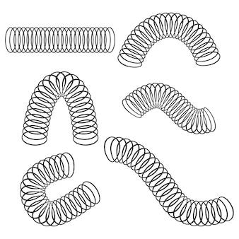 Набор иконок спиральной спиральной пружины черный, изолированные на белом фоне.
