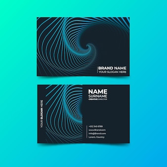 Spiral of distorted lines business card