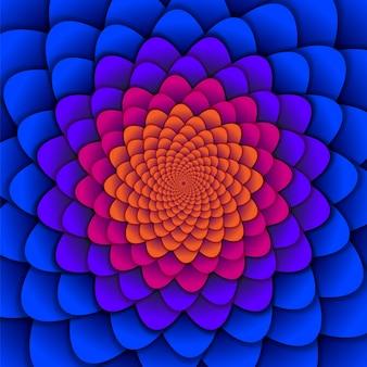 赤と青のスパイラルフラワーパターン