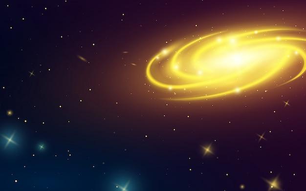 宇宙の渦巻銀河、天の川のイラスト。太陽系の惑星。暗闇の中で星。