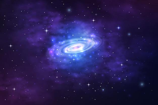 宇宙星雲、星屑、星空の宇宙の渦巻銀河