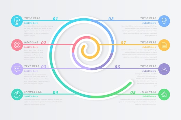 Spiral infographic in pastel colors