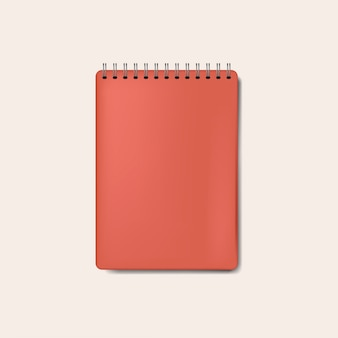 Spiral red notebook mockup isolated vector