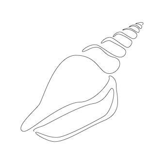 ロゴまたはエンブレムの1つの連続した線画スタイルのスパイラル貝殻。海洋生物のアイコンの抽象的な海のカタツムリの殻。現代のシンプルなベクトルイラスト。編集可能なストローク