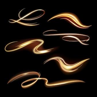 나선형 빛나는 흔적. 에너지 황금 불꽃, 노을 투명 산책로, 나선형 조명 효과 파도와 아름다운 빛 경로 그림을 설정합니다. 활기찬 마법의 힘 노란 꼬리