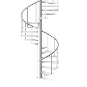 흰색 배경에 나선형 계단 현실적인 3d 개체