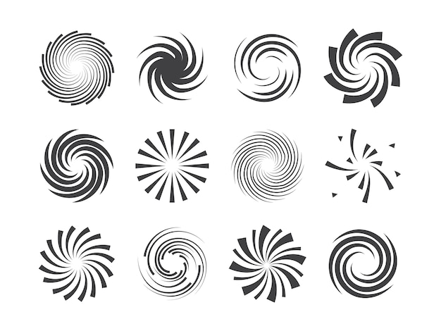 Spiral and swirl motion twisting circles  element set