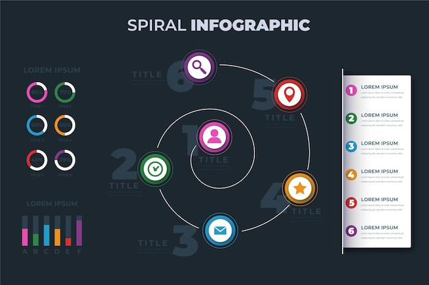 Spiral with pictograms infographic template