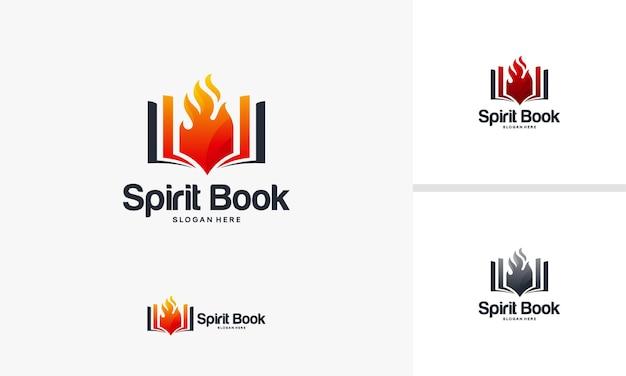 スピリットブックのロゴデザイン、ホットラーンのロゴデザインベクトル、モチベーションブックのロゴデザイン