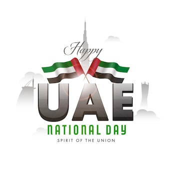 Spirit of the onion, national day celebration poster  with uae flags and silhouette famous
