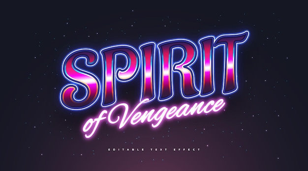 Spirit text in colorful retro style and glowing neon effect. editable text style effect