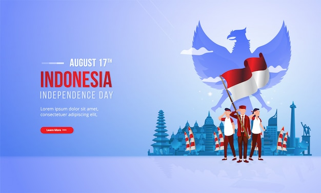 Spirit of youth patriotism with red and white flag illustration for indonesian national day concept