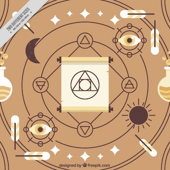 Spiritual abstract symbols and accessories