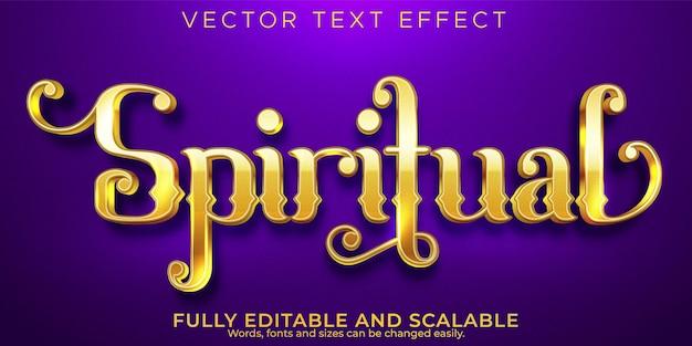 영적 황금 텍스트 효과, 편집 가능한 금속성 및 반짝이는 텍스트 스타일