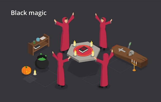 Spiritualism and black magic concept. the witches perform black magic ritual. using of supernatural powers or magic for evil and selfish purposes.  isometric  illustration on gray background.