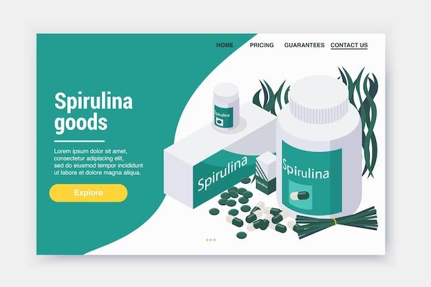 海藻の丸薬の画像とクリック可能なリンクを備えたスピルリナアイソメトリックランディングページのwebサイトのデザイン