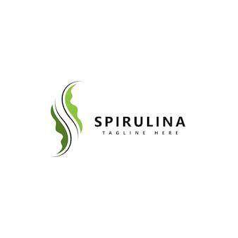 Значок логотипа спирулины. органическое здоровое питание.