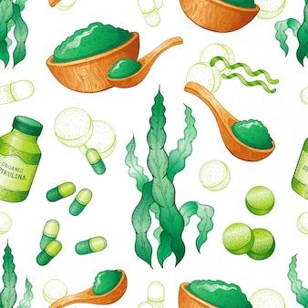 スピルリナ海藻シームレスパターン。手描きの海の植物、スーパーフードの描画。スピルリナスーパーフードデトックスコレクション。