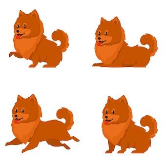 さまざまなポーズのスピッツ。漫画風のかわいい犬。