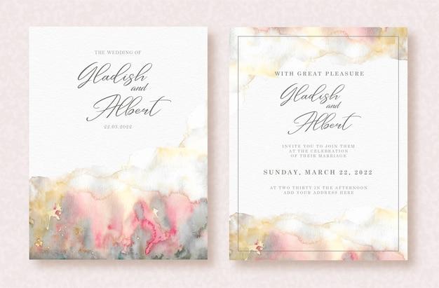 招待状に抽象的な混合色の水彩画をスプラッシュ