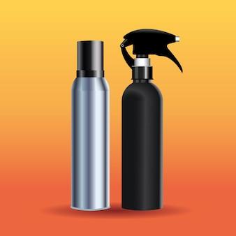 Splash bottles hairdressing tools equipment icons  illustration