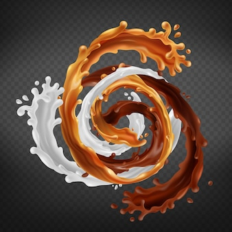 Splash of caramel, chocolate and milk mixed in swirl isolated on transparent background.