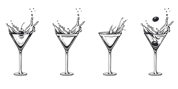 スプラッシュカクテルグラス彫刻アルコールドリンク。手描きの白黒イラストビンテージスタイル。アートをスケッチします。