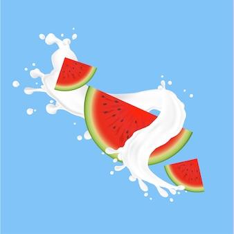 Splash of fresh milk with watermelon