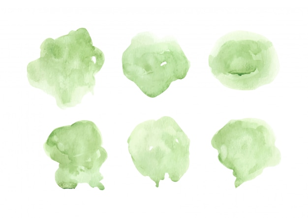 Splash green watercolor stains element collection