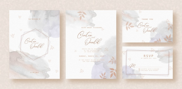 Splash grey watercolor with floral shape on wedding invitation