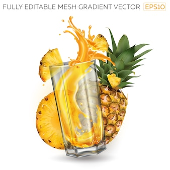 Splash of juice in a glass and pineapples on a white background.