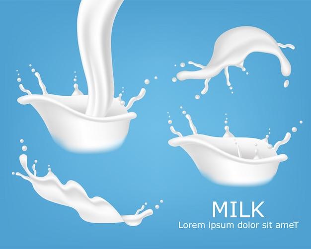 Splash milk realistic set, organic milk, fresh product