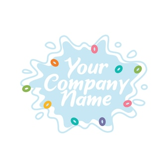 Splash of milk with colorful cereal vector illustration logo template