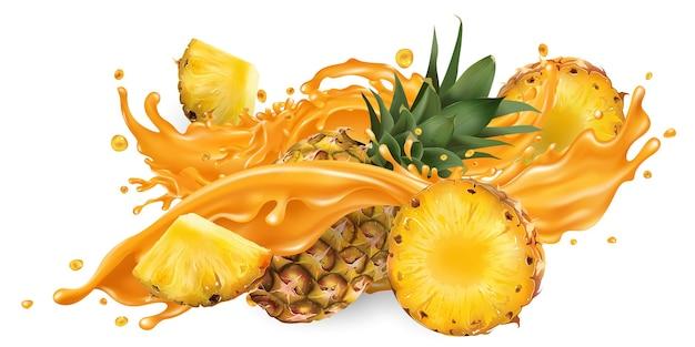 フルーツジュースと新鮮なパイナップルのスプラッシュ。