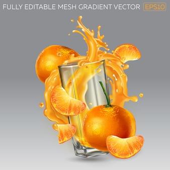 Всплеск фруктового сока в стакане и мандарины.